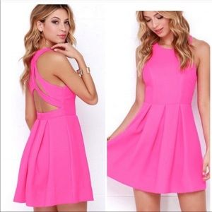 Hot pink Lulu's skater dress, size medium